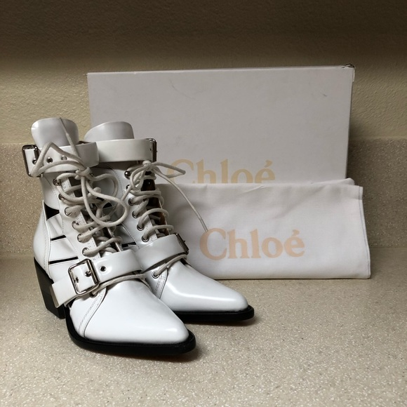 Chloe Shoes - Chloe Rylee Caged Pointy Toe Boot White 37.5 / 7.5